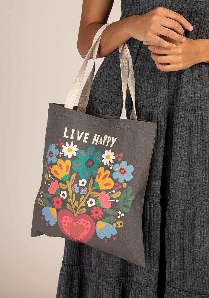 Tote bag live happy
